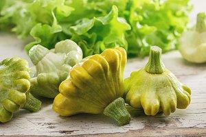Pattypan squash and green salad.