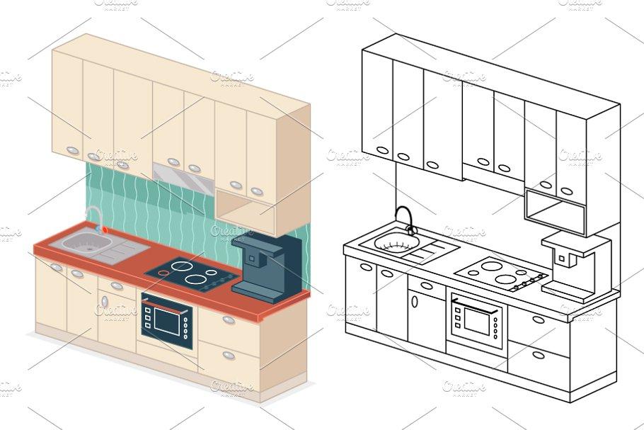 Isometric Kitchen Design Vector Graphics Creative Market