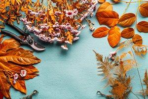 Autumn flowers arrangement , frame
