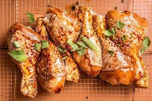 Raw marinated chicken drumsticks