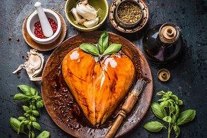 Chicken breast in heart shape
