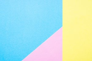 Blue, yellow and pink paper