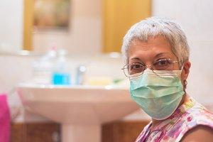 Senior woman wearing face mask