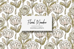 Floral Meadow Seamless Patterns