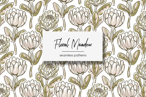 Graphics: Yopixart - Floral Meadow Seamless Patterns