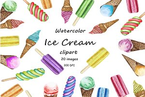 Ice cream Clipart, Watercolor Clipar
