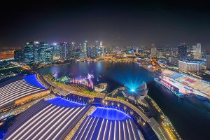 Lights show at downtown Singapore ci