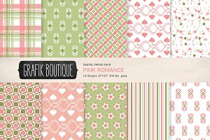 Romantic pattern digital paper pack