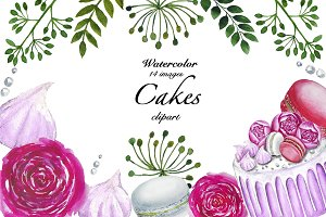 Cakes Clipart, Watercolor Clipart