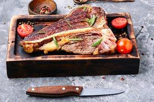 Sirloin steak on cutting board
