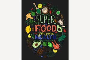 Hand Drawn Superfoods poster