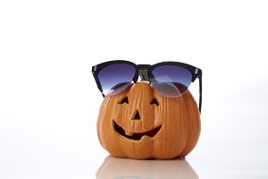 pumpkin jack lantern with sunglasses