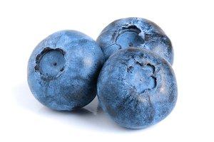 three fresh blueberry isolated on