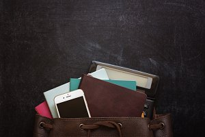Backpack with school stationery and