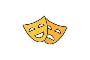 Comedy and tragedy masks color icon