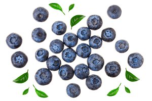 fresh ripe blueberry isolated on