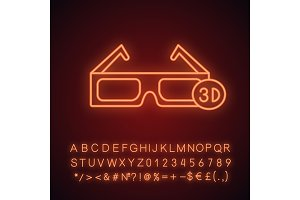 3D glasses neon light  icon