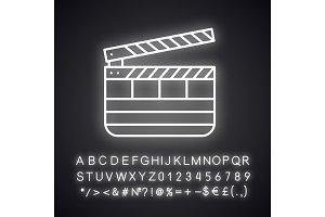 Clapperboard neon light  icon