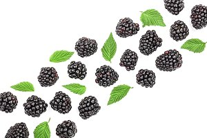 Fresh blackberry with leaves