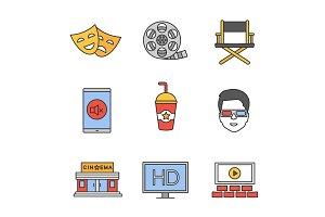 Cinema color icons set