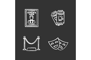 Cinema chalk icons set