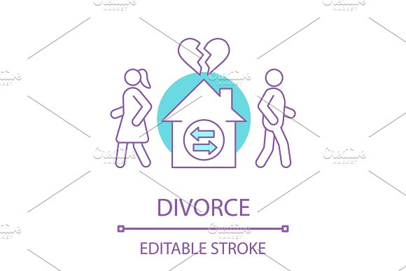 Divorcing couple concept icon