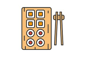 Sushi and chopsticks color icon