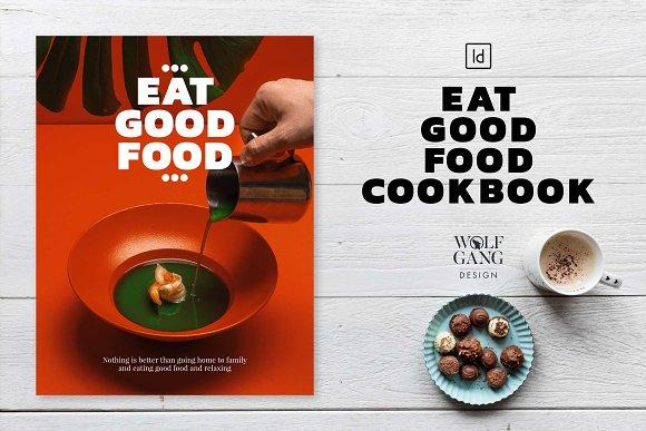 eat good food cookbook template magazine templates creative market