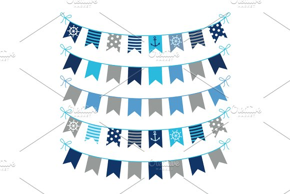 Gray blue nautical bunting clipart