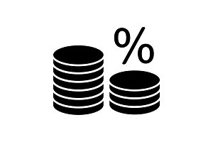 Coin stack with percent glyph icon