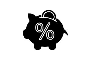 Penny piggy bank with percent icon