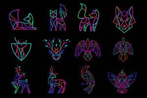 Set of neon animal logos