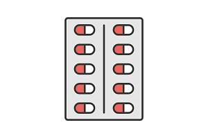 Pills blister color icon