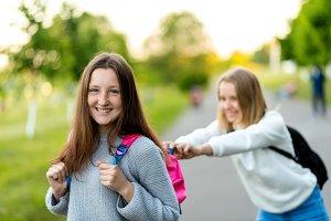 Two girl schoolgirl girlfriends. In