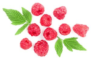 raspberries with leaves isolated on