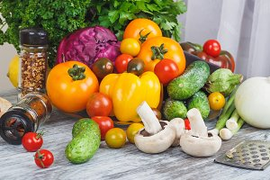 Colored vegetables and different gre