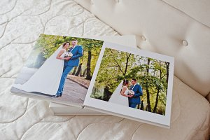 Pages of wedding photobook or weddin