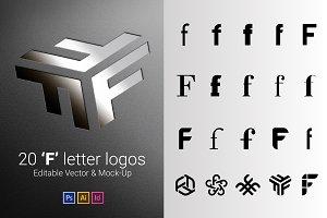 20 F Letter Logos - Vector & Mock-Up