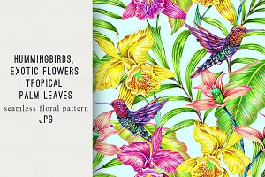 Botanical tropical flowers pattern