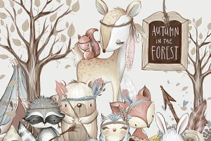 Woodland baby animals hand painted