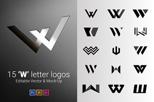 15 W Letter Logos - Vector & Mock-Up