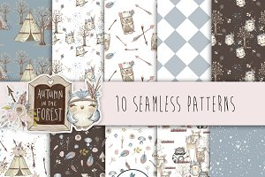 Cute Woodland Digital Papers