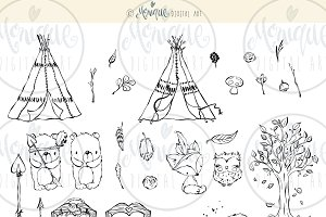 Black & White Woodland Clipart