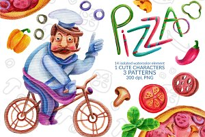 Watercolor elements of PIZZA