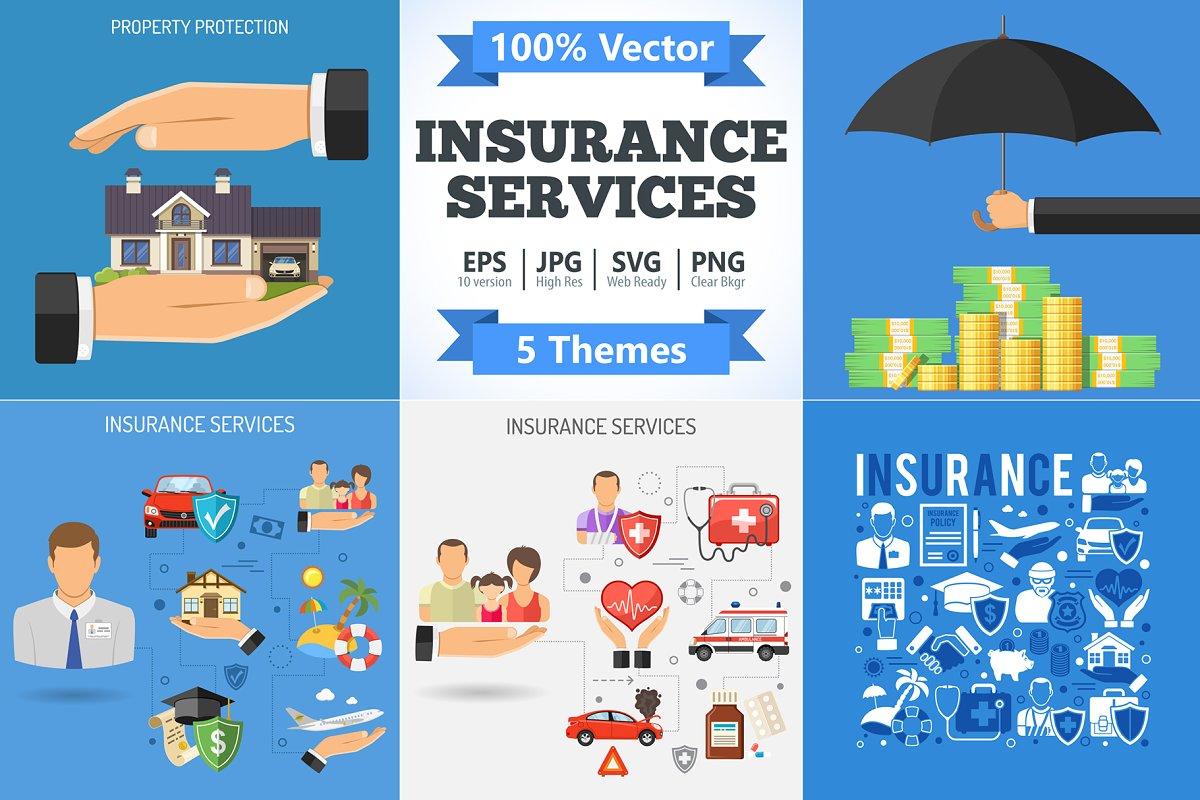 9e782b8516aff Insurance Services Concepts ~ Illustrations ~ Creative Market