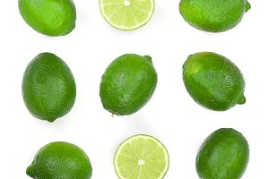 sliced lime isolated on white
