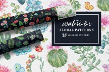 Watercolor Floral Seamless Patterns