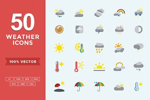 Flat Icons Weather Set