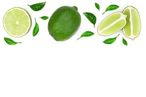 sliced lime vith leaves isolated on
