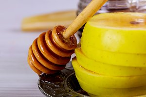 Honey jar with apples Rosh Hashana